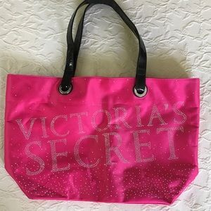VICTORIA'S SECRET Pink Rhinestone Tote Bag